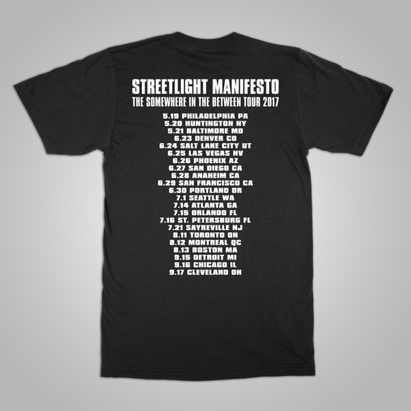 "Streetlight Manifesto ""Somewhere In The Between Tour"" T-Shirt (Black)"