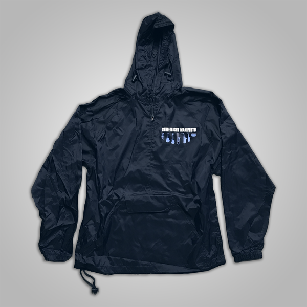 "Streetlight Manifesto ""Instrument Collage"" Pullover Windbreaker (Navy Blue)"