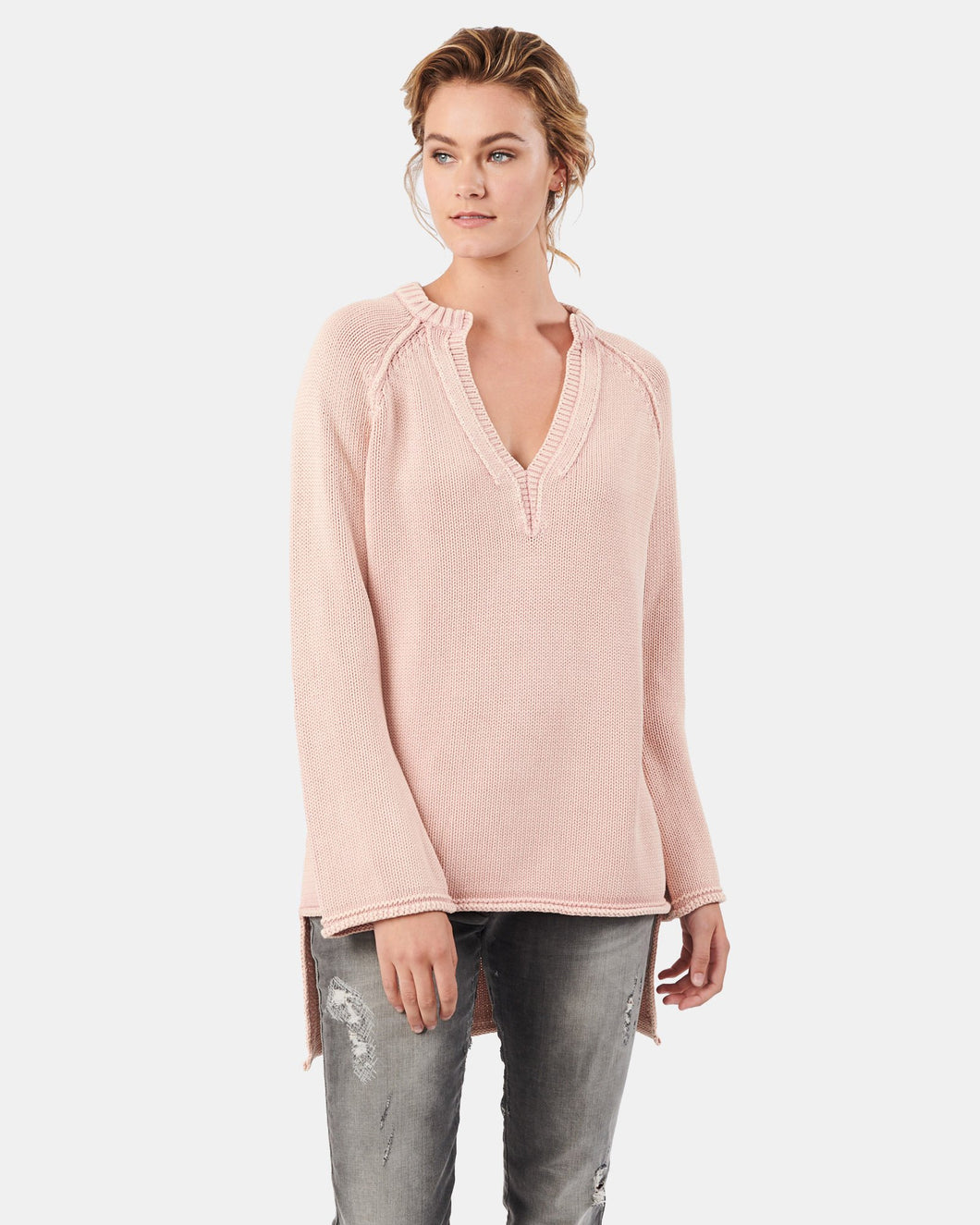 Kitty Open V-Neck Cotton Knit