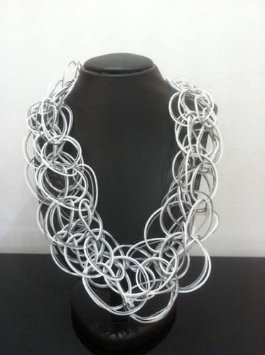 Grey & White Rubber Necklace by Materia Designs of Italy/Sale