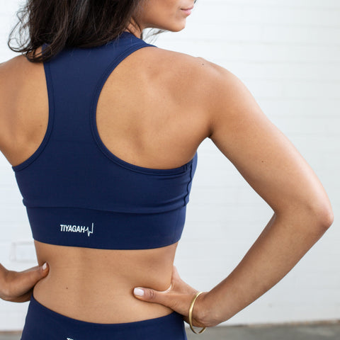 Power Base Sports Bra - Navy Blue - TIYAGAH