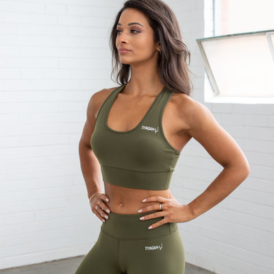 Power Base Sports Bra - Khaki - TIYAGAH