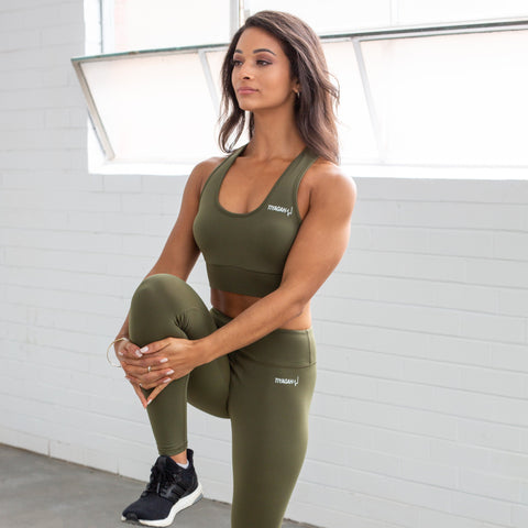 7/8 Power Base Leggings - Khaki - TIYAGAH