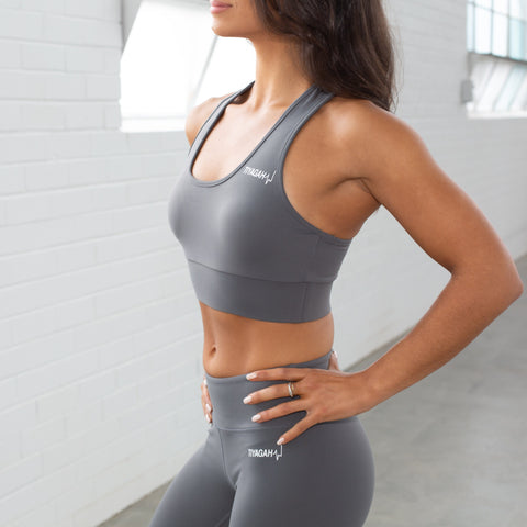 Power Base Sports Bra - Grey - TIYAGAH