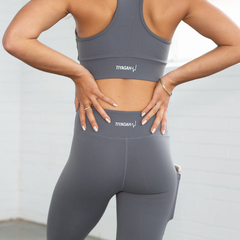 7/8 Power Base Leggings - Grey - TIYAGAH