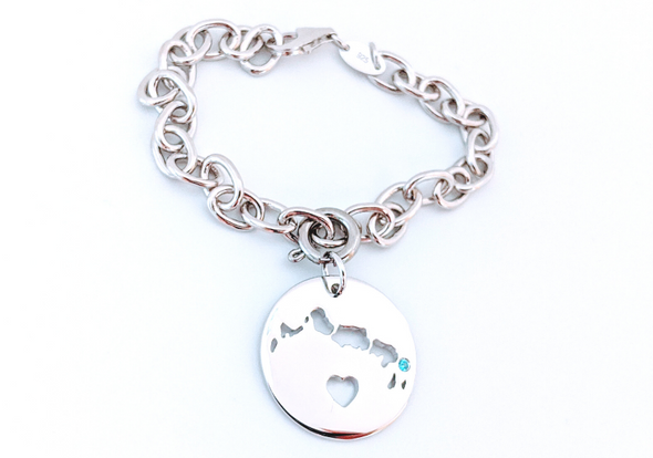 I Left My Heart in Turks and Caicos - Sterling Silver Charm Bracelet
