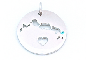 I Left My Heart in Turks and Caicos - Sterling Silver Pendant Only