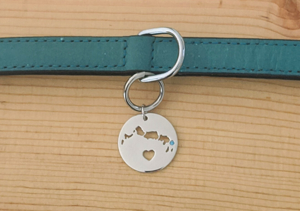 I Left My Heart in Turks and Caicos - Sterling Silver Bag Charm - Keychain Charm - Dog Collar Charm