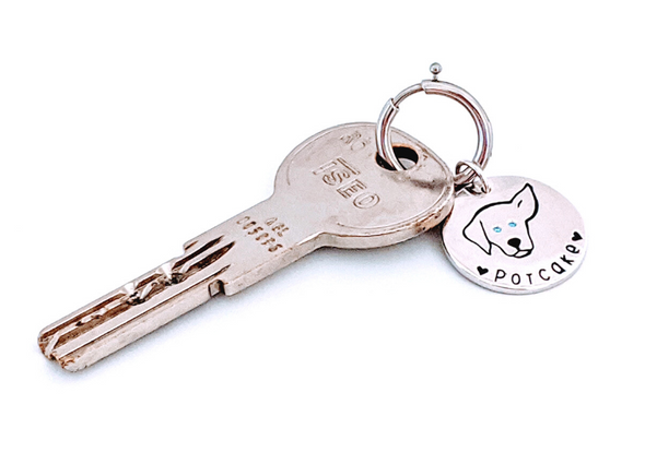 Potcake Love - Sterling Silver Bag Charm - Keychain Charm