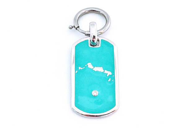 Turks in Turqs Dawg Tag - Sterling Silver Bag Charm - Keychain Charm - Dog Collar Charm