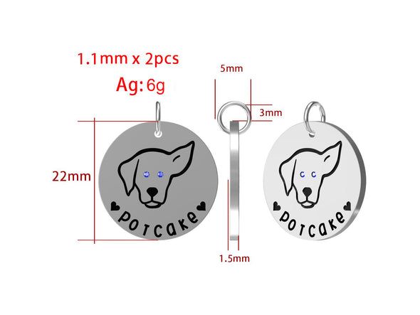 Potcake Love - Sterling Silver Dog Collar Pendant