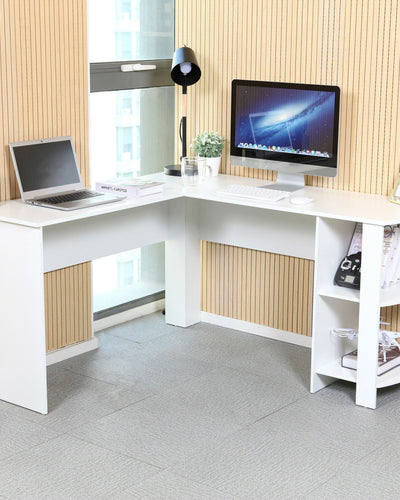 White L-shaped Corner Computer Desk
