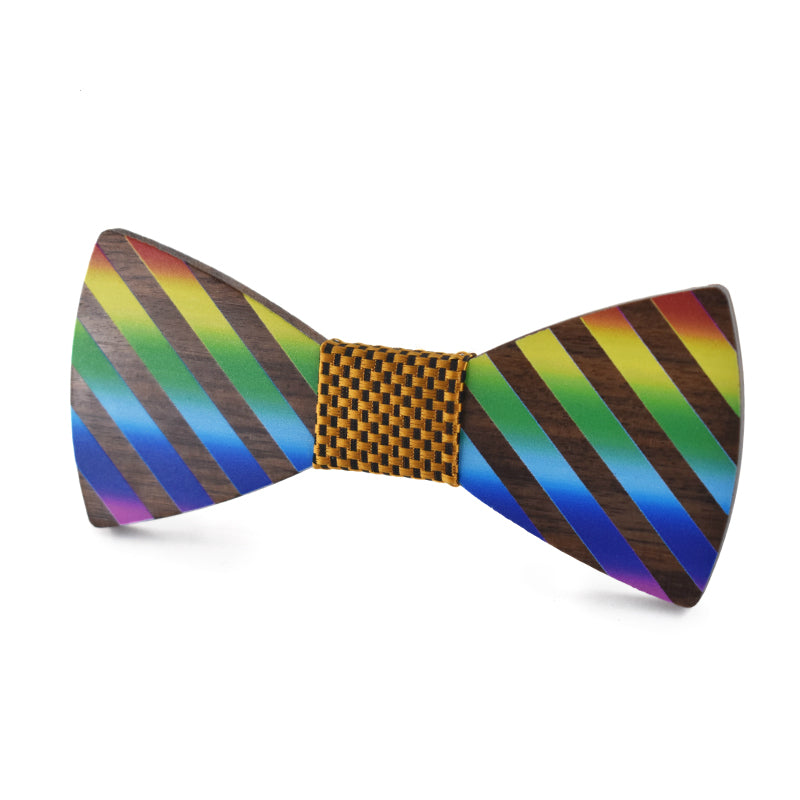 Rainbow Striped Wood Bow Tie (Model1)