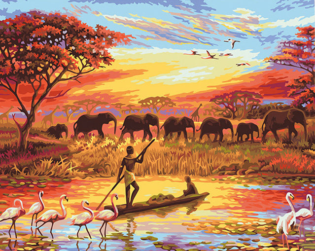 Elephant Safari Sunset (DIY Abstract Painting)
