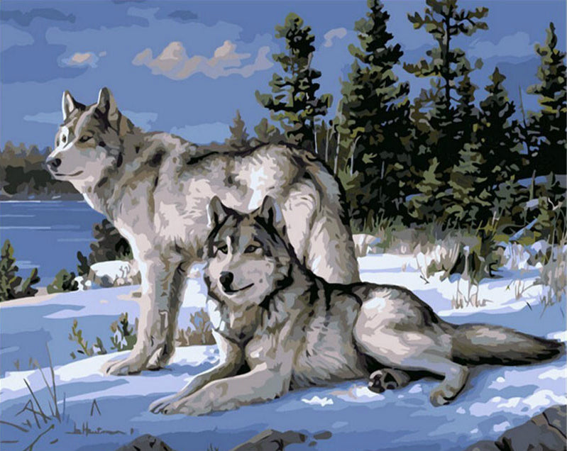 Grey Wolfs In Snow (DIY Abstract Painting)