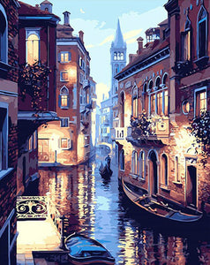 Venice Night Landscape (DIY Abstract Painting)