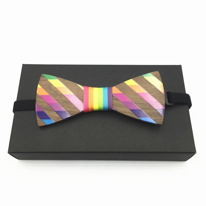 Rainbow Striped Wood Bow Tie (Model2)