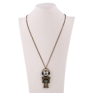 Bronze DJ Love Music Robot Pendant