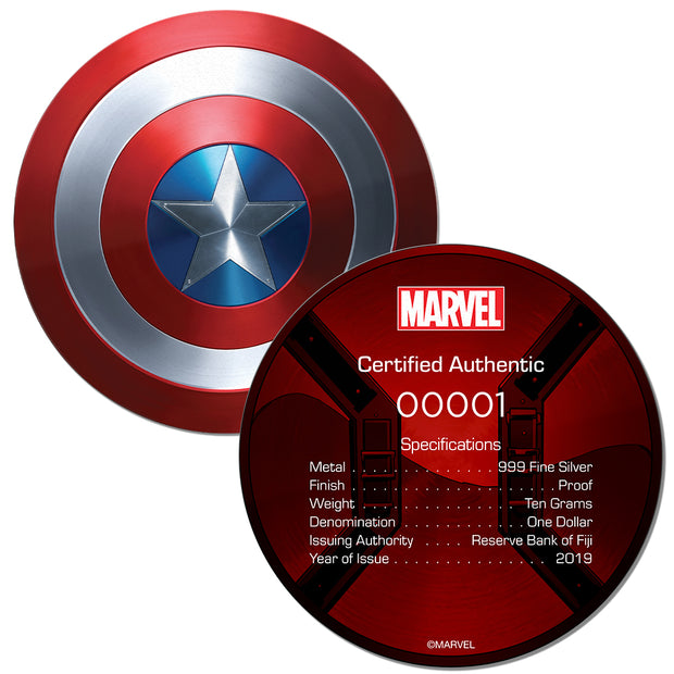 2019 10g Silver Captain America Shield Coin certificate of authenticity