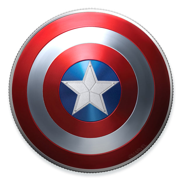 2019 10g Silver Captain America Shield Coin obverse view