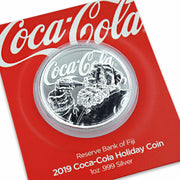 2019 1oz Silver Coca-Cola Santa Claus Coin relief detail