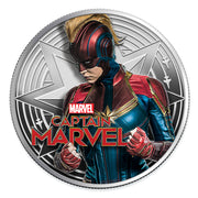 2019 1oz Silver Captain Marvel Coin obverse detail