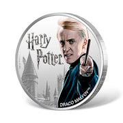 2020 1oz Silver Draco Malfoy Coin obverse and reeded edge detail
