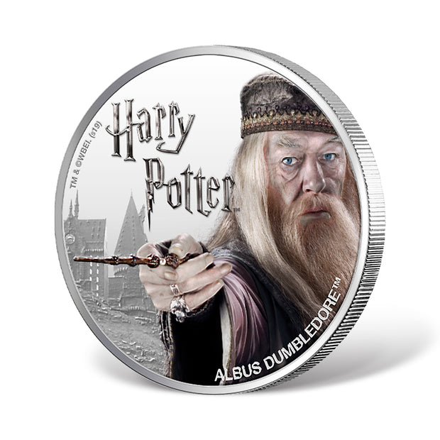 2020 1oz Silver Albus Dumbledore Coin obverse and reeded edge detail
