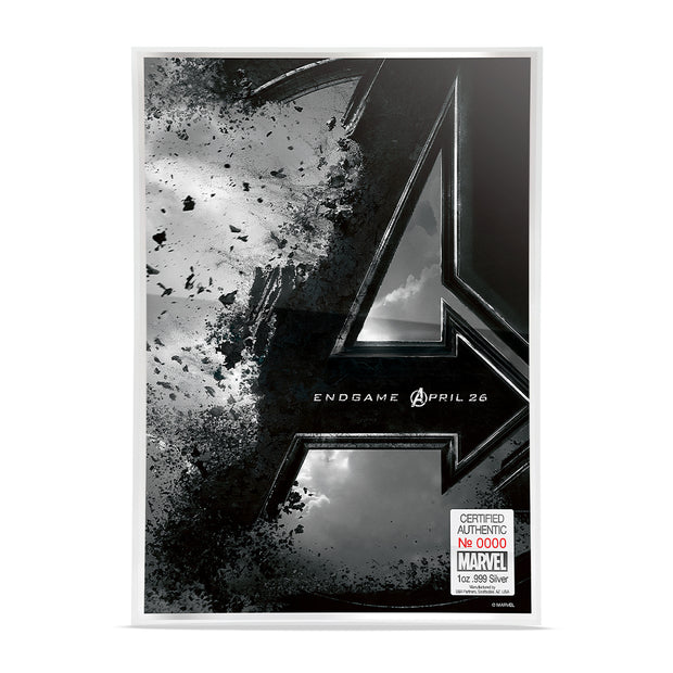 2019 1oz Silver Avengers: Endgame Movie Poster Foil back detail
