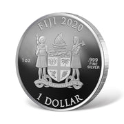 2020 1oz Silver Draco Malfoy Coin reverse and reeded edge detail