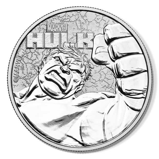 2019 Marvel 1oz Pure Silver HULK Bullion Coin obverse detail