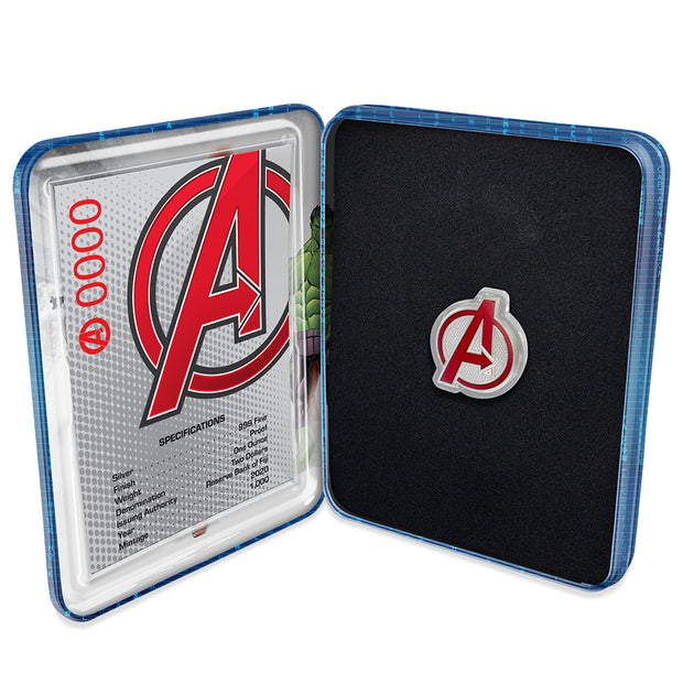 2020 1oz Silver Avengers Logo Coin packaging detail