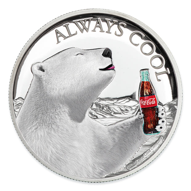 2019 1oz Silver Coca-Cola Polar Bear Coin obverse detail