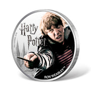 2020 1oz Silver Ron Weasley Coin obverse and reeded edge detail