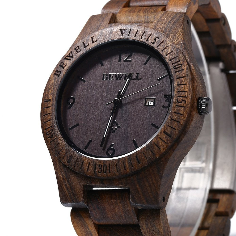 Luxury Bewell Wooden Quartz Wrist Watch