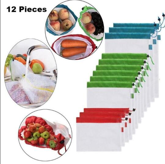 12 Piece Set - Reusable Produce Fruit and Vegetable Bags