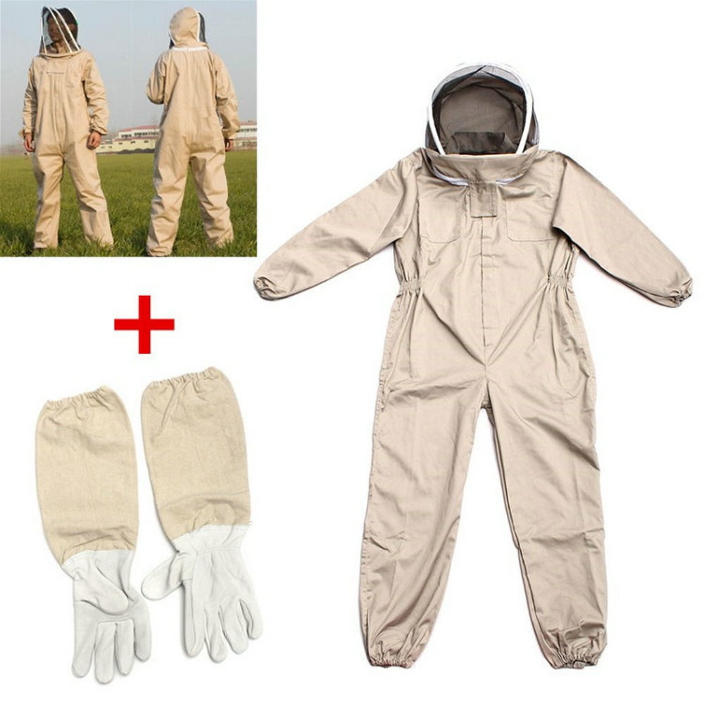 Professional Ventilated Full Body Beekeeping Suit w/ Leather Gloves