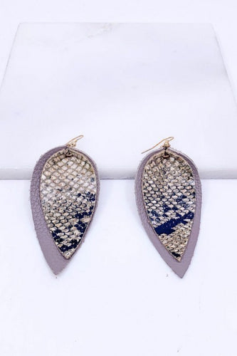 Snake Skin Faux Leather Earrings