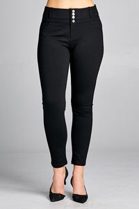 Four Button High Waist Pants - Black (XL-3X)