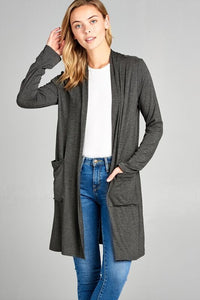 Long Sleeve Cardi - Charcoal