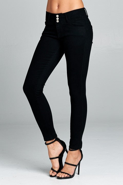 Three Button, High Waist Pants - Black (S-L)