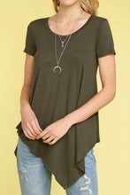 Load image into Gallery viewer, Knit Asymmetrical Hi Low Tee - Olive
