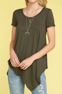 Knit Asymmetrical Hi Low Tee - Olive