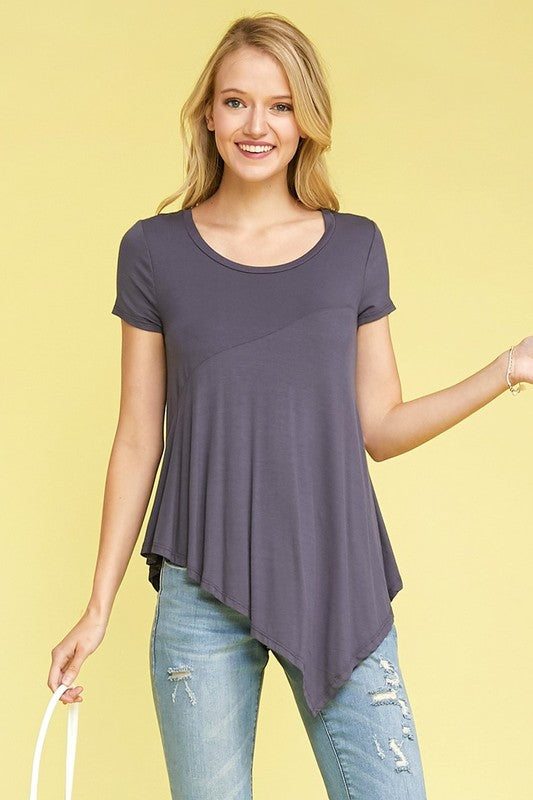 Knit Asymmetrical Hi Low Tee - Gray