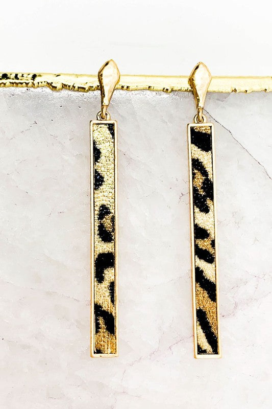 Leopard Print Bar Earrings