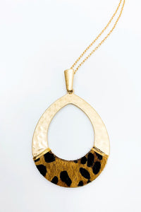 Leopard Print Teardrop Necklace