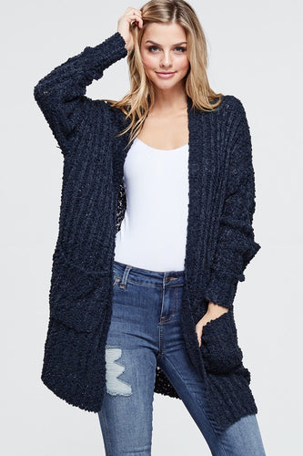 White Birch Rib Knit Popcorn Cardigan With Pockets - Navy