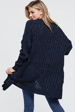 Load image into Gallery viewer, White Birch Rib Knit Popcorn Cardigan With Pockets - Navy