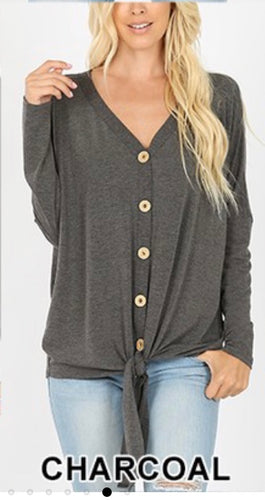 Zenana Long Sleeve Button Down Tie Front Top - Charcoal