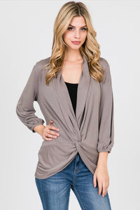 Allie Rose Faux Wrap Blouse - Dark Taupe